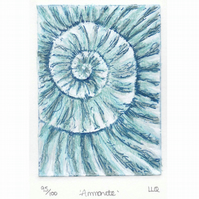 Etching no.95 of an ammonite fossil with mixed media in an edition of 100