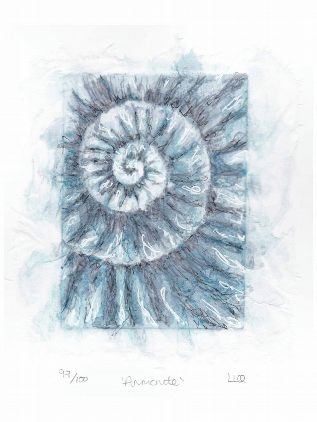 Etching no.97 of an ammonite fossil with mixed media in an edition of 100