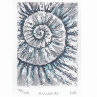 Etching no.98 of an ammonite fossil with mixed media in an edition of 100