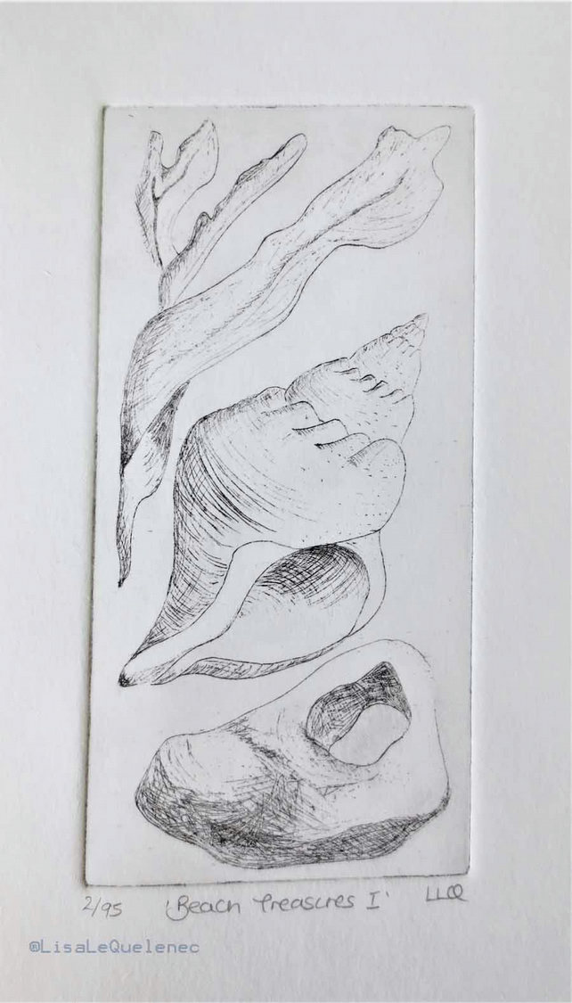 Beach treasures I an original etching of seaweed, a shell and a hagstone