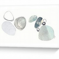 Pebbles III an abstract collage reproduction blank greeting card