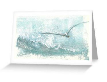 Gull and ocean surf blank notelet card