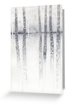 Birch tree study drawing blank notelet greeting card