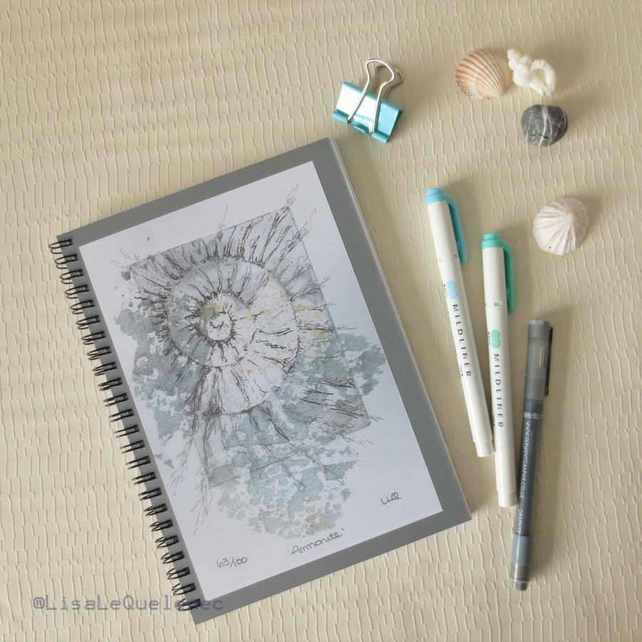 A5 (6x8) spiral bound notebook with an ammonite fossil spiral cover reproduction
