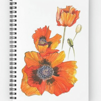 A5 (6x8) spiral bound notebook with a red poppies cover reproduction