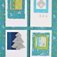 Set of four handmade Christmas Tree themed cards in blue, green and metallic (d)