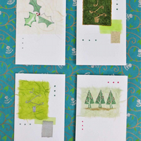 Four pack of handmade Christmas cards with trees and holly (e)