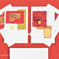 Four pack of handmade Christmas cards bells and trees in red and gold (a)