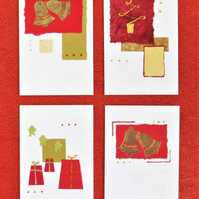Set of four handmade Christmas cards in red and gold (b)