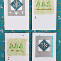Four pack of handmade Christmas cards with trees and snowflakes (c)