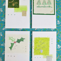 Four pack of handmade Christmas cards with trees and holly (f))