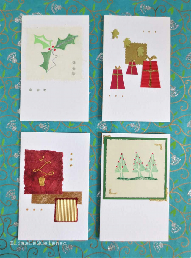 Four pack of Christmas cards gift boxes, holly and trees in red and green (h)