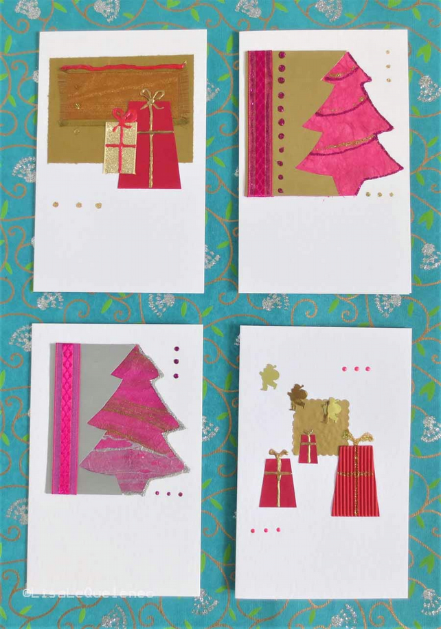 Four pack of Christmas cards gift boxe and trees in red and fushia (i)