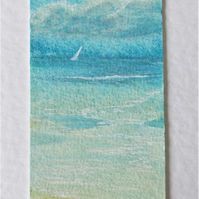 Handmade hand painted sailing greetings card miniature art