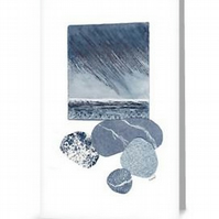 Reproduction art card of a storm at sea