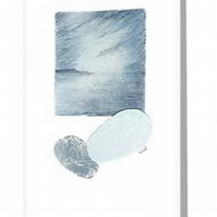 Blank greeting art card coastal view with pebbles