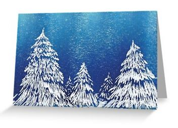 Snow trees blank greeting card notelet landscape