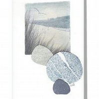 Art card coastal view toward Old Harry Rocks from the beach with pebbles