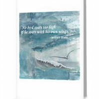 Inspirational quote blank greeting card notelet William Blake bird soars