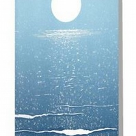 The moon sparkling on the sea blank art card notelet portrait
