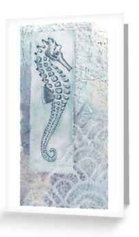 Seahorse blank greeting card notelet
