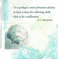 Art card with Robert Louis Stevenson quote shell collecting