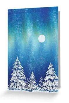 Snow moon trees blank greeting card notelet portrait northern lights