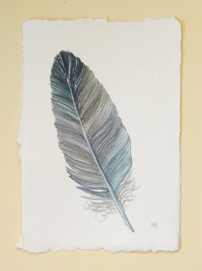 Original watercolour feather painting illustration