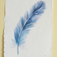 Original watercolour painting of a blue feather