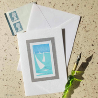 Summer sailing handprinted cards with a glitter embellishment