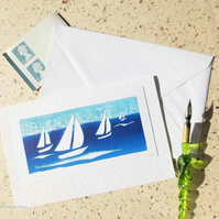 Sailing on the solent handprinted blank greeting card