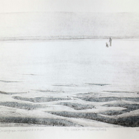 Walking the dog on the beach original mixed media and monoprint