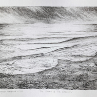 Winter storm over the sea original mixed media and collagraph