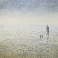 One man and his dog an original watercolour painting
