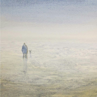 Original watercolour painting a couple walking the dog on the beach at low tide
