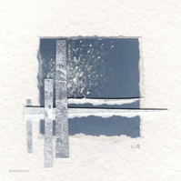 Original coastal inspired abstract minimalist collage no.16