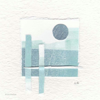 Original coastal inspired abstract minimalist collage no.21