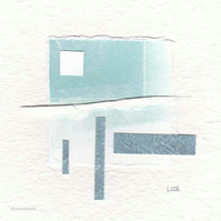 Original coastal inspired abstract minimalist collage no.22