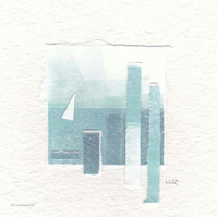Coastal inspired original abstract minimalist paper collage no.23