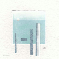 Coastal inspired original abstract minimalist paper collage no.24