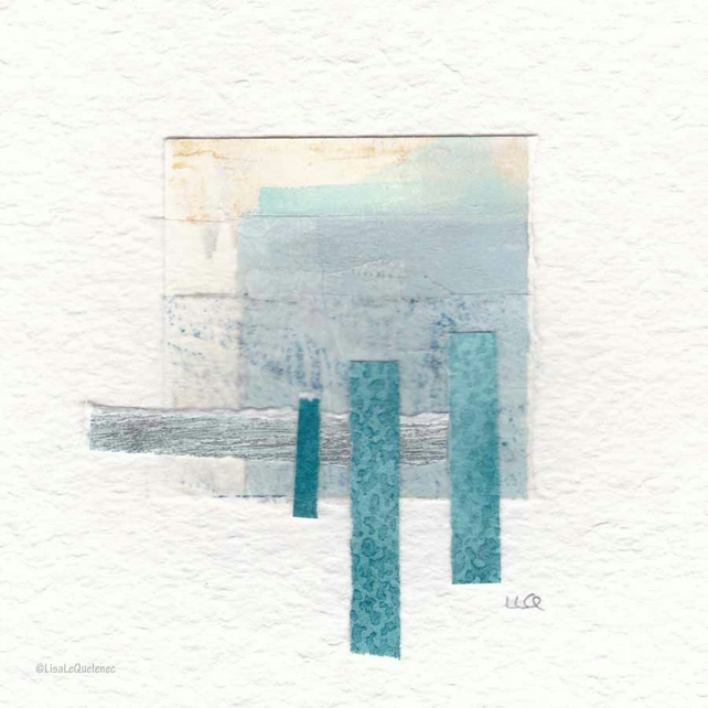 Coastal inspired original abstract minimalist paper collage no.26