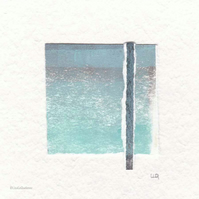 Original coastal inspired abstract minimalist collage no.3