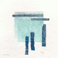 Coastal inspired original abstract minimalist paper collage no.4