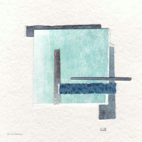 Coastal inspired original abstract minimalist paper collage no.5
