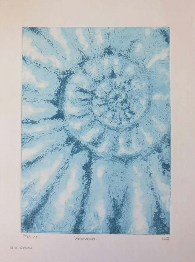 Original ammonite fossil spiral solar etching no. 3 in an edition of 95
