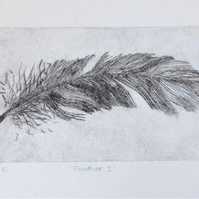 Drypoint original print feather I no.2 in a limited edition of 10