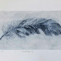Original feather art drypoint print no.3 in an edition of 10 variable prints