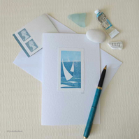 Summer sailing handprinted card with a glitter embellishment