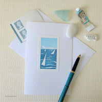 Summer sailing Isle of Wight coastal handprinted card