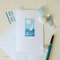 Sailing in the sun handprinted blank greeting card